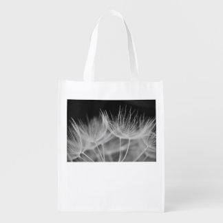 Dandelion Closeup in Black White Reusable Grocery Bag