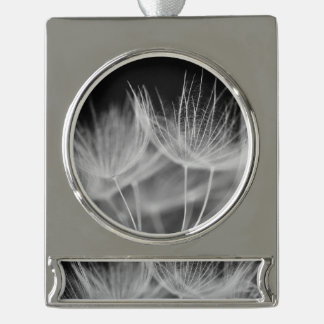 Dandelion Closeup in Black White Silver Plated Banner Ornament