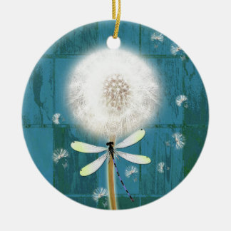 Dandelion dragonfly rustic blue barn wood ceramic ornament