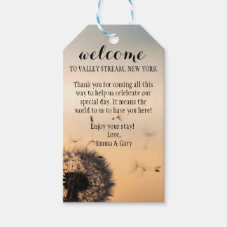 Dandelion Evening Welcome Wedding Gift Tags