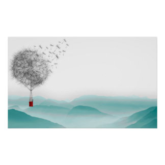 dandelion fantasy  hot air balloon landscape poster