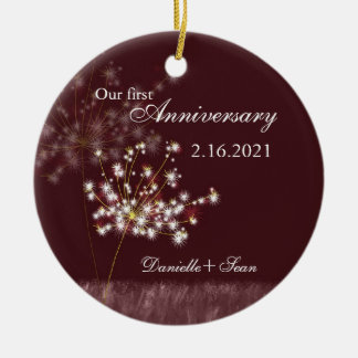 Dandelion First Wedding Anniversary Photo Keepsake Ceramic Ornament