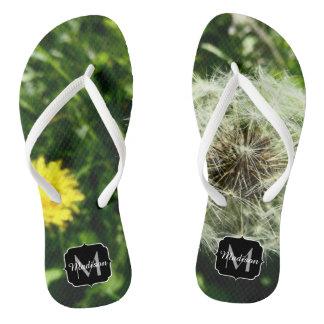 Dandelion flower and seed head Monogram Thongs