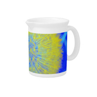 Dandelion flower clock in yellow and blue beverage pitchers