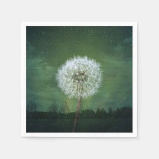 Dandelion Flower Fluff Starry Sky Art Disposable Serviette