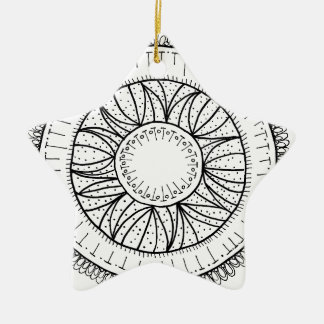 dandelion flower mandala ceramic ornament