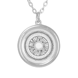 dandelion flower mandala silver plated necklace