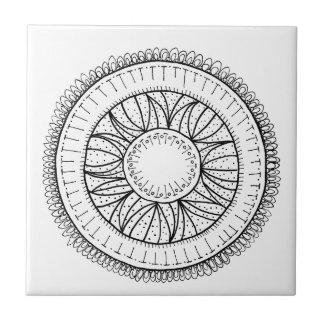 dandelion flower mandala small square tile