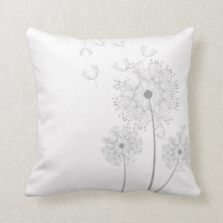 Dandelion flower on pure white throw cushions