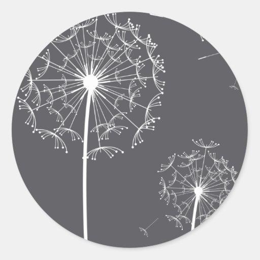 dandelion grey round sticker