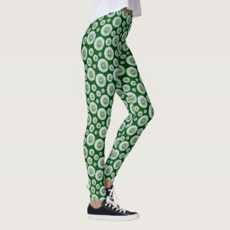 Dandelion Heads on Green Leggings