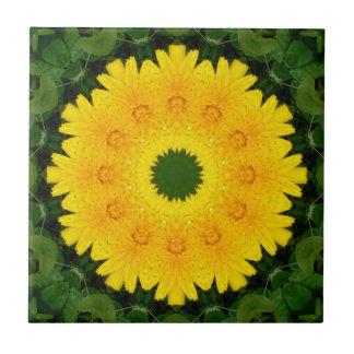 Dandelion Nature 001, Flower-Mandala Small Square Tile