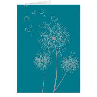 Dandelion on color modern floral birthday greeting card