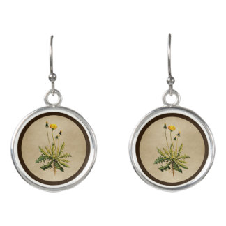 Dandelion On Old Paper Earrings