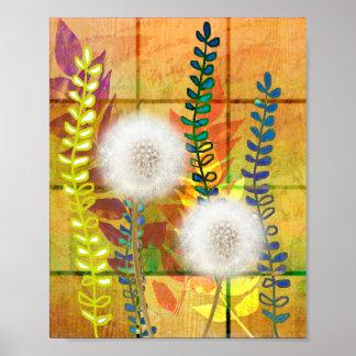 Dandelion orange green flora foliage dandelions print