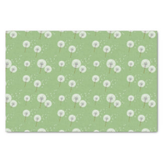 Dandelion Pattern on Green Background Tissue Paper