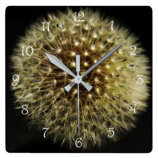 Dandelion Seedhead White Script Numbers Wall Clock