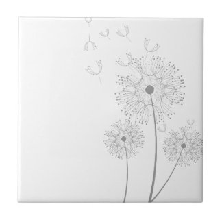 Dandelion Seeds Blowing Small Square Tile