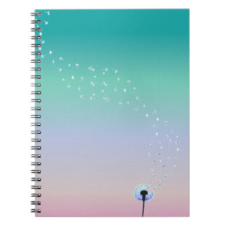 Dandelion Seeds Flying in the Wind - Turquoise Spiral Note Books