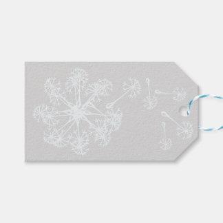 Dandelion seeds white on light grey gift tags
