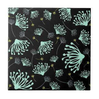 Dandelion Silhouette Black Ceramic Tile