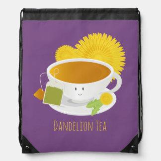 Dandelion Tea Cup Character   Drawstring Backpack
