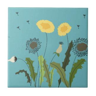Dandelion, Turquoise Ceramic Tile