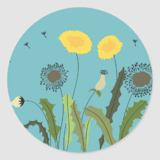Dandelion, Turquoise Classic Round Sticker