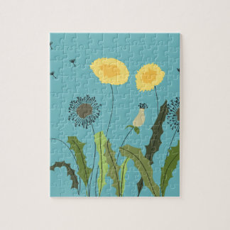 Dandelion, Turquoise Jigsaw Puzzle