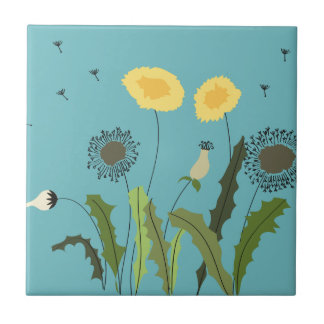 Dandelion, Turquoise Small Square Tile