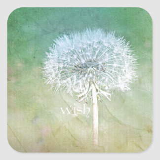 Dandelion Wish Dreamy Design Square Sticker