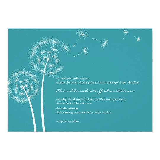 Dandelion Wish Wedding Invitations (Turquoise)