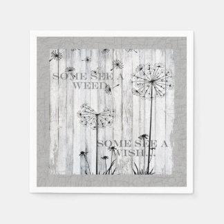 Dandelion Wishes Dreamy Gray Quote Disposable Serviettes