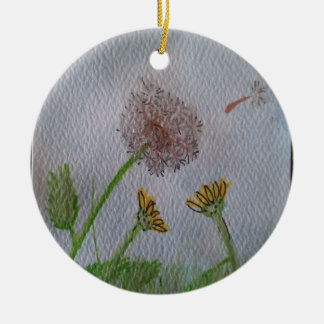 Dandelion Wishes on the Wind Ceramic Ornament