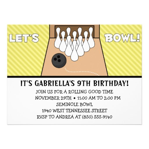 Dandelion Yellow Let's Bowl Bowling Birthday Party Invitations