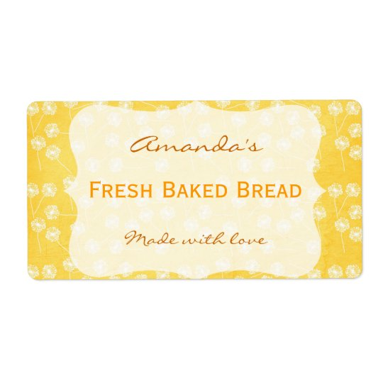 Dandelion Yellow Personalised Canning Label Shipping Label