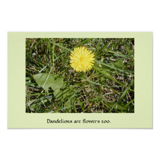 """""""Dandelions are flowers"""" poster"""