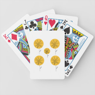 Dandelions gold on white bicycle playing cards