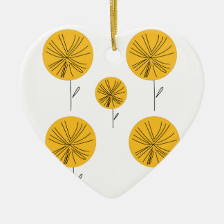 Dandelions gold on white ceramic ornament