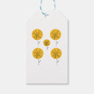 Dandelions gold on white gift tags