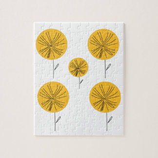 Dandelions gold on white jigsaw puzzle