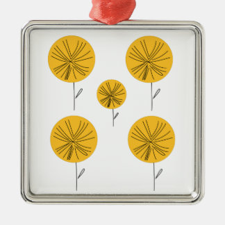 Dandelions gold on white metal ornament