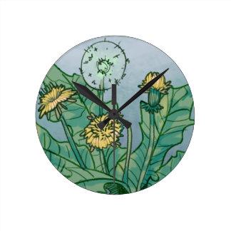 Dandelions  Illustration Round Clock