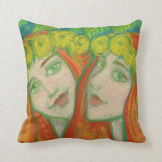 """""""Dandelions"""" pastel painting summer redhaired girl Throw Pillow"""