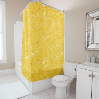 dandelions pattern sunny yellow flowers shower curtain