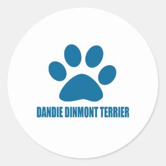 DANDIE DINMONT TERRIER DOG DESIGNS CLASSIC ROUND STICKER
