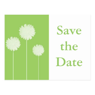 Dandilion green save the date postcard