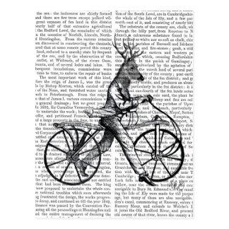 Dandy Deer on Vintage Bicycle Postcard