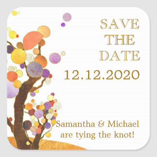 Dandy Tree Theme Wedding Save the Date Square Sticker