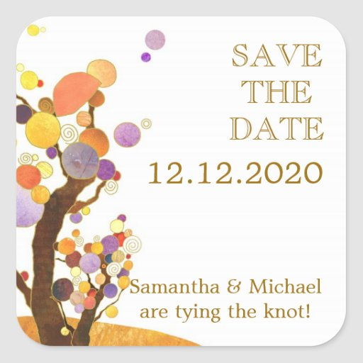 Dandy Tree Theme Wedding Save the Date Stickers